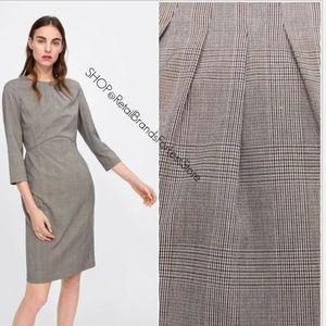 ZARA CHECKED PLAID SHIFT PENCIL DRESS WITH SLIT
